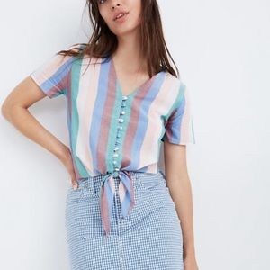 Madewel nwot tie front button flagstaff stripe top
